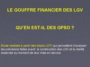 LE GOUFFRE FINANCIER DES LGV QUEN ESTIL DES