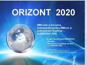 ORIZONT 2020 IMMurile i inovarea Instrumentul pentru IMMuri