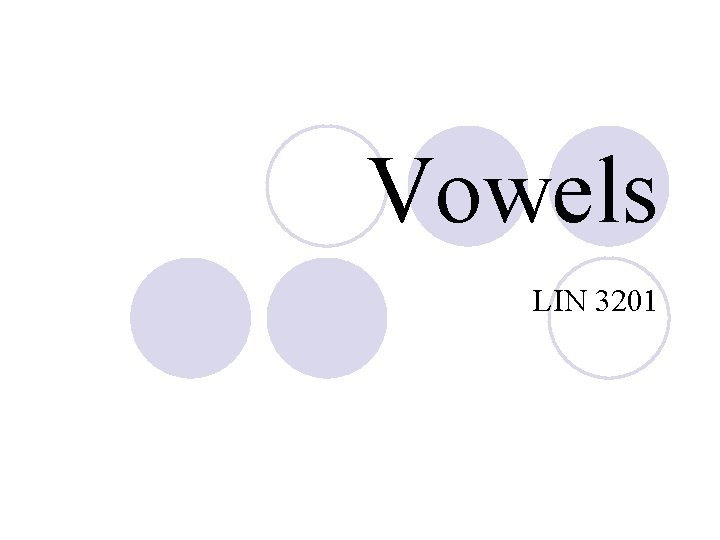 Vowels LIN 3201 Vowels vs Consonants Vowels Consonants