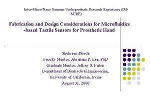 InterMicroNano Summer Undergraduate Research Experience IMSURE Fabrication and