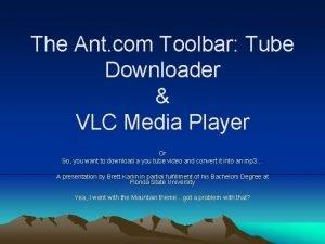 The Ant com Toolbar Tube Downloader VLC Media