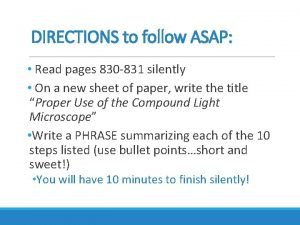 DIRECTIONS to follow ASAP Read pages 830 831