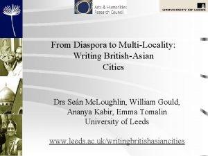 From Diaspora to MultiLocality Writing BritishAsian Cities Drs