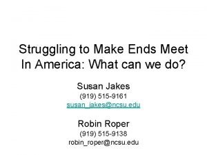 Struggling to Make Ends Meet In America What