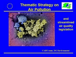 Thematic Strategy on Air Pollution and streamlined air
