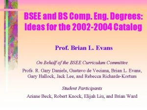 BSEE and BS Comp Eng Degrees Ideas for
