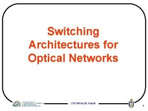 Switching Architectures for Optical Networks CSIT 560 by