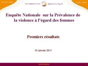Enqute Nationale sur la Prvalence de la violence
