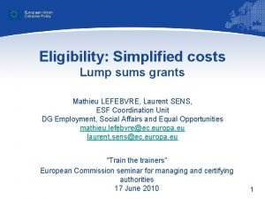 European Union Cohesion Policy Eligibility Simplified costs Lump