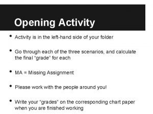 Opening Activity Activity is in the lefthand side