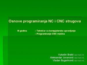 Osnove programiranja NC i CNC strugova III godina