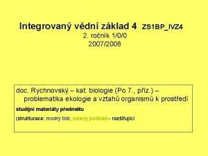 Integrovan vdn zklad 4 ZS 1 BPIVZ 4