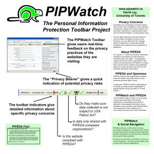 PIPWatch The Personal Information Protection Toolbar Project The