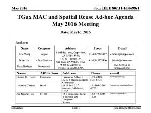 May 2016 doc IEEE 802 11 160698 r