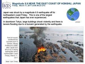Magnitude 8 9 NEAR THE EAST COAST OF