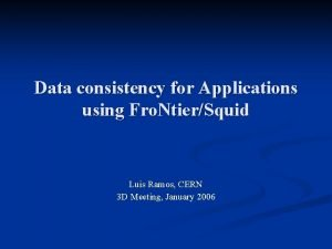 Data consistency for Applications using Fro NtierSquid Luis