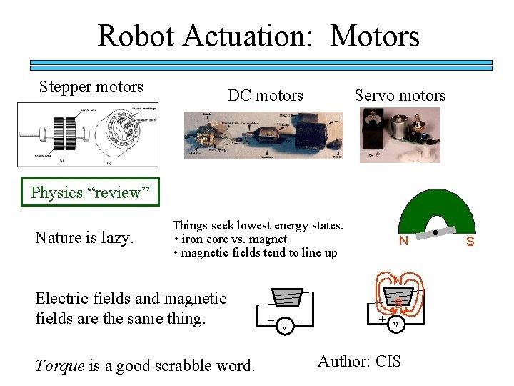 Robot Actuation Motors Stepper motors DC motors Servo