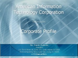 American Information Technology Corporation www aitcusa com Corporate