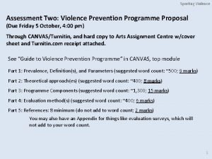 Sporting Violence Assessment Two Violence Prevention Programme Proposal