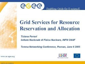 Enabling Grids for Escienc E Grid Services for