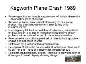 Kegworth Plane Crash 1989 Passengers crew thought captain