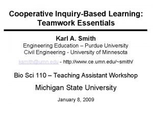 Cooperative InquiryBased Learning Teamwork Essentials Karl A Smith
