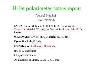 HJet polarimeter status report Yousef Makdisi RSC 092906