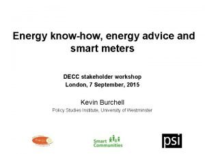 Energy knowhow energy advice and smart meters DECC