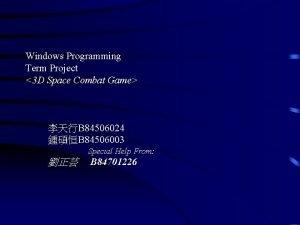 Windows Programming Term Project 3 D Space Combat