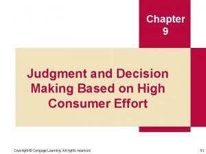 Chapter 9 Judgment and Decision Making Based on