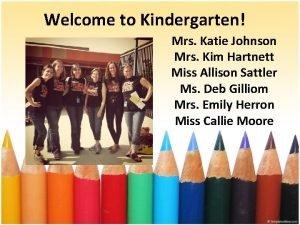 Welcome to Kindergarten Mrs Katie Johnson Mrs Kim