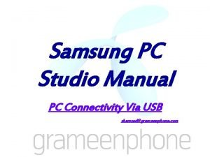 Samsung PC Studio Manual PC Connectivity Via USB