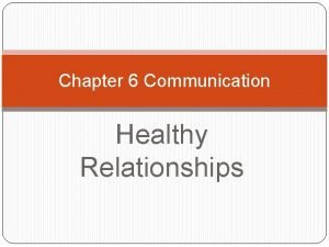 Chapter 6 Communication Healthy Relationships Effective Communication Communication