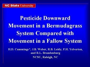 NC State University Pesticide Downward Movement in a