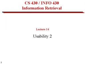 CS 430 INFO 430 Information Retrieval Lecture 14