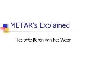 METARs Explained Het ontcijferen van het Weer Doelstellingen