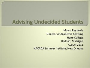 Advising Undecided Students Maura Reynolds Director of Academic