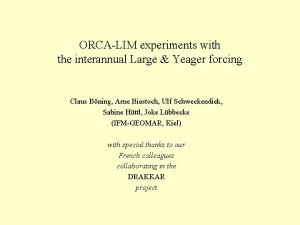 ORCALIM experiments with the interannual Large Yeager forcing