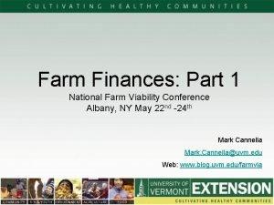 Farm Finances Part 1 National Farm Viability Conference