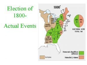 Election of 1800 Actual Events I The four