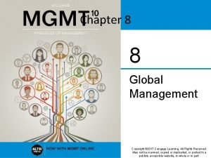 Chapter 8 8 Global Management Copyright 2017 Cengage
