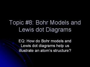 Topic 8 Bohr Models and Lewis dot Diagrams