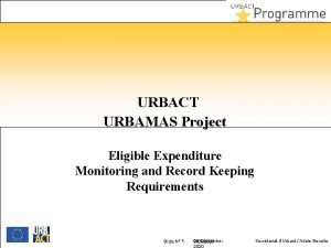 URBACT URBAMAS Project Eligible Expenditure Monitoring and Record