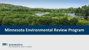 Minnesota Environmental Review Program Environmental Review Program Panel