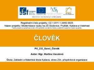 Registran slo projektu CZ 1 071 1 3802