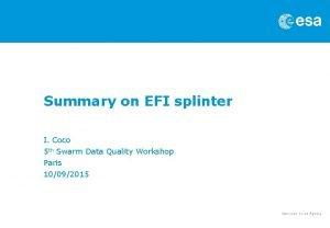 Summary on EFI splinter I Coco 5 th