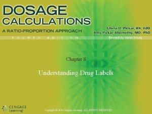 Chapter 8 Understanding Drug Labels Copyright 2016 Cengage