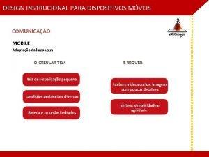 DESIGN INSTRUCIONAL PARA DISPOSITIVOS MVEIS COMUNICAO MOBILE Adaptao