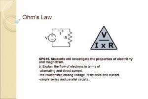 Ohms Law SPS 10 Students will investigate the