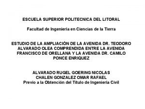 ESCUELA SUPERIOR POLITECNICA DEL LITORAL Facultad de Ingeniera